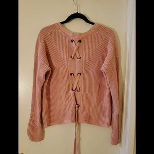 Lucky Brand Pink Long Sleeve Laceback Sweater Sz S